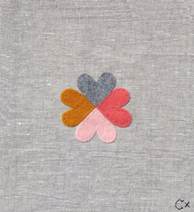 Little Heart Family 3 Embroidery by Rachel Castle. 230mm w x 250mm h
