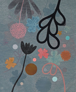Little Midnight Garden 1 painting by Rachel Castle. 550mm w x 640mm h