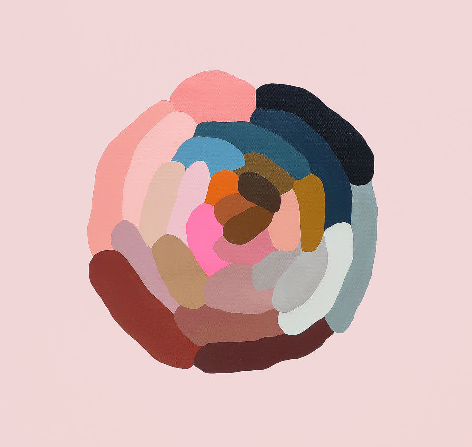 Little Peony 1 painting by Rachel Castle. 630mm w x 630mm h