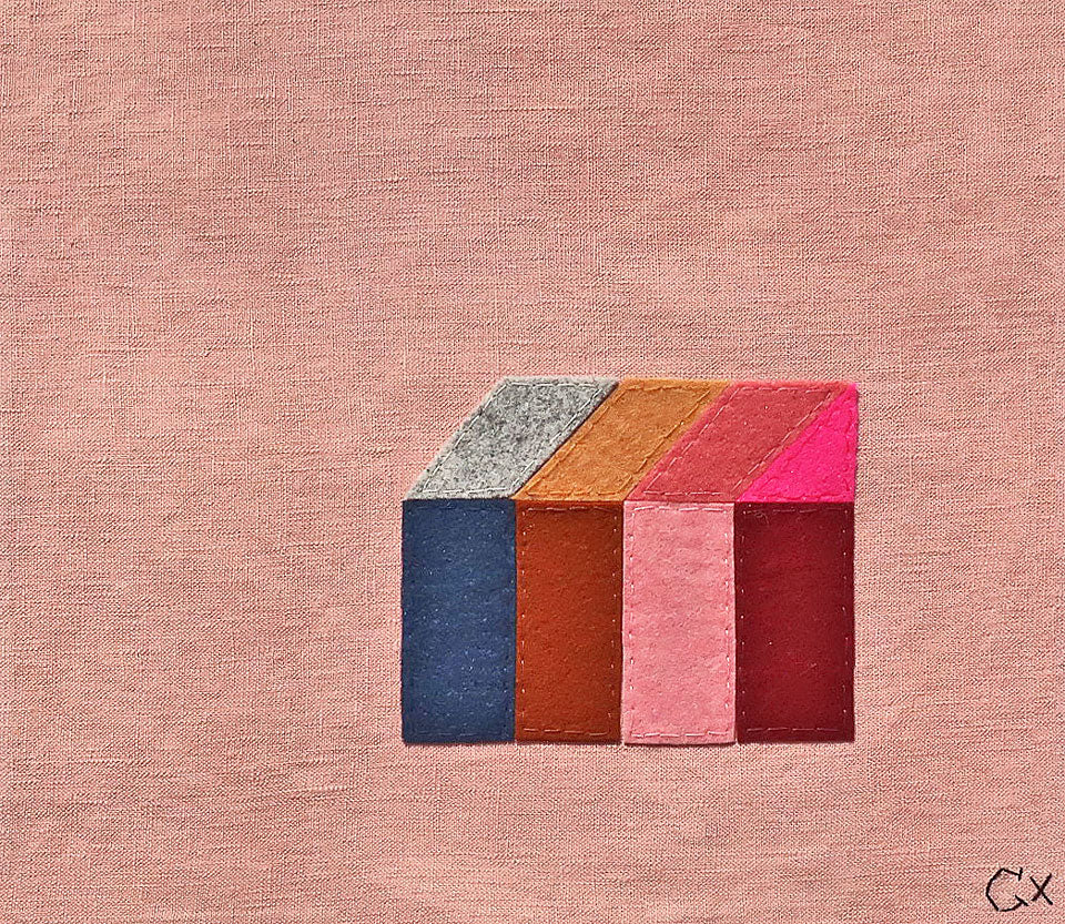 Little Pink House Embroidery by Rachel Castle. 330mm w x 300mm h