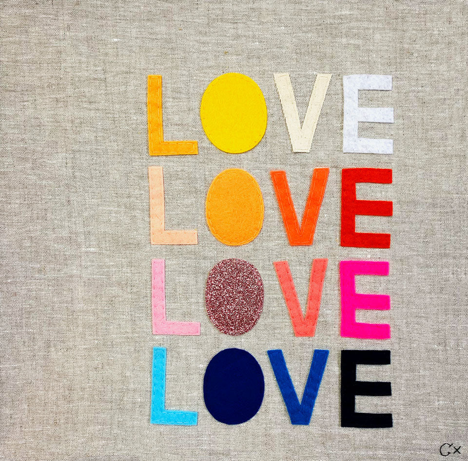 Love Love Love Love Embroidery by Rachel Castle. 430mm w x 430mm h