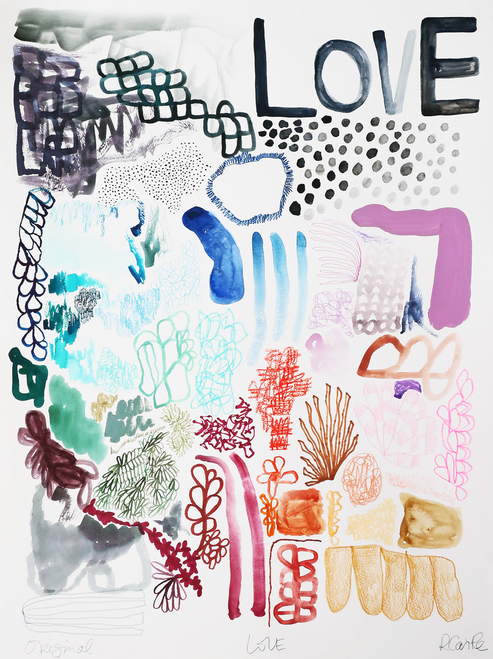 Love Waterclour Print by Rachel Castle. 550mm w x 750mm h