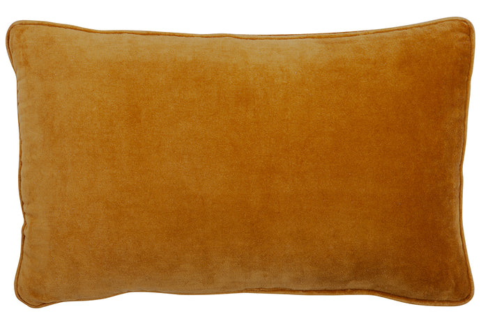 Butterscotch Velvet Lumbar Cushion Cover by Castle. 52 x 30cm