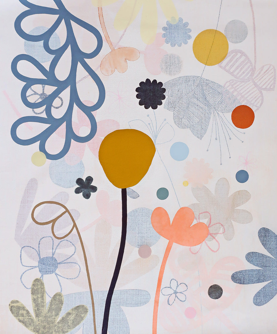 Midi Garden 2 painting by Rachel Castle. 650mm w x 760mm h