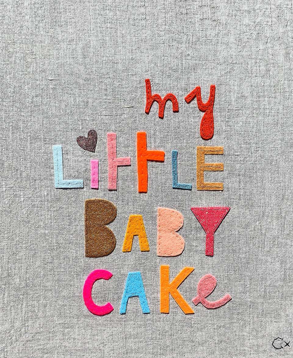 My Little Baby Cakes Embroidery by Rachel Castle. 340mm w x 430mm h