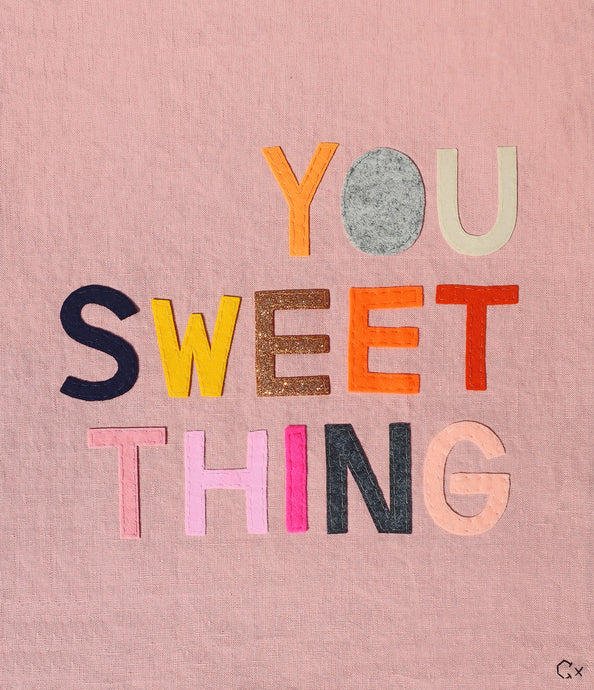 You Sweet Thing Embroidery by Rachel Castle. 390mm w x 445mm h