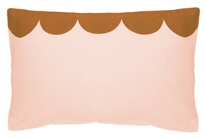 Blush Linen Scallop Pillowcase by Castle. Blush Linen printed with Butterscotch Scallop Design. 50 x 75cm