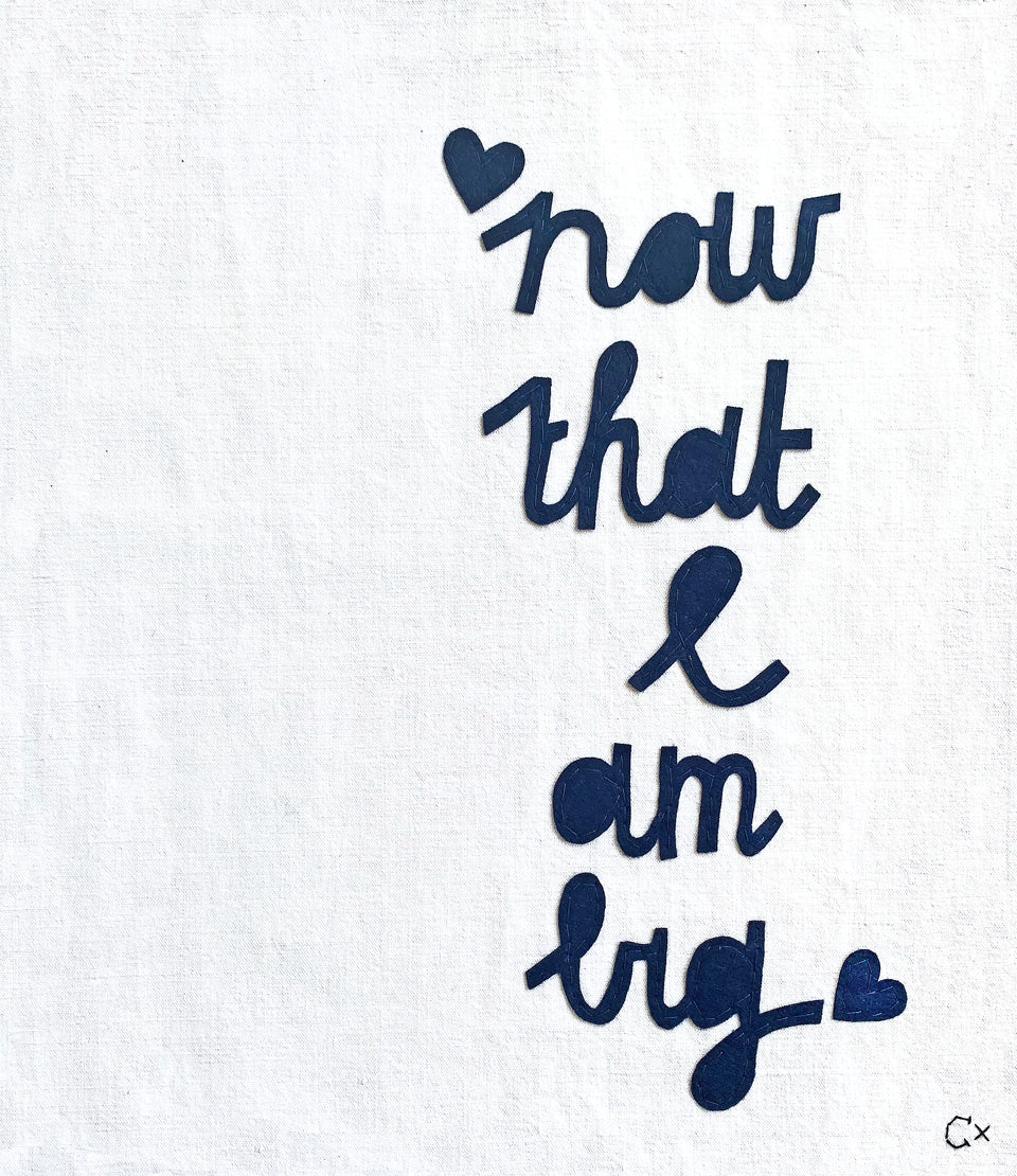 Now That I Am Big Embroidery by Rachel Castle. 340mm w x 385mm h