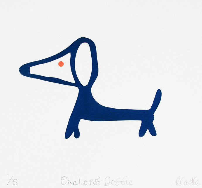 One Long Doggie Print by Rachel Castle. 270mm w x 250mm h