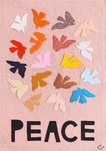 Peace Embroidery by Rachel Castle. 340mm w x 480mm h