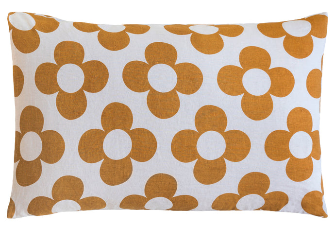Grey Linen Rust Flower Pillowcase by Castle. Butterscotch Linen Four Petal Flower Design. 50 x 75cm