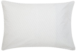 Grey Diagonal Stripe Pillowcase by Castle. White Cotton Pillowcase Printed with thin Grey Stripes. 50 x 75cm