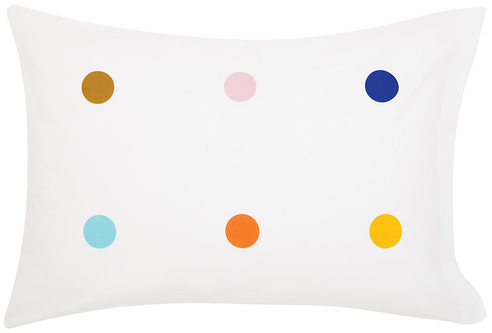 Multi Spot Pillowcase by Castle. White Cotton Pillowcase with 6 Printed Spots in Multi Colour including Blue, Butterscotch, Sky Blue, Watermelon and Yellow. 50 x 75cm