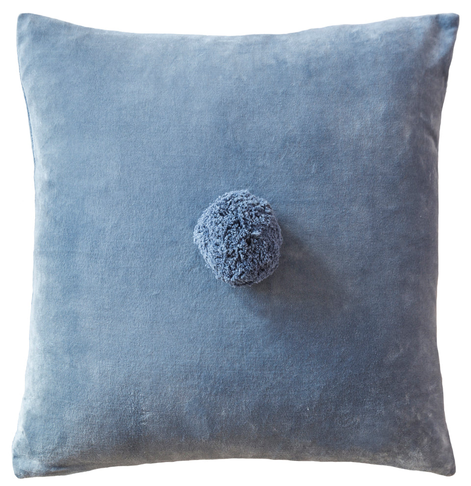Dusty Blue Pom Pom Cushion Cover by Castle