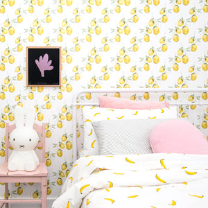 Banana Flat Sheet by Castle. Velvet Pillowcase. Baby Pink Velvet Penny Round Cover. All The Love Print by Castle