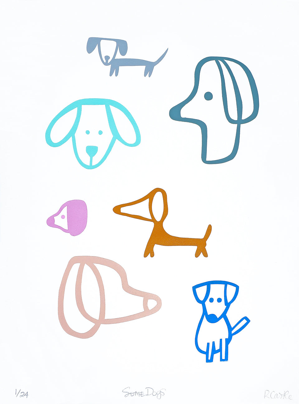 Some Dogs Print by Rachel Castle. 500mm w x 750mm h