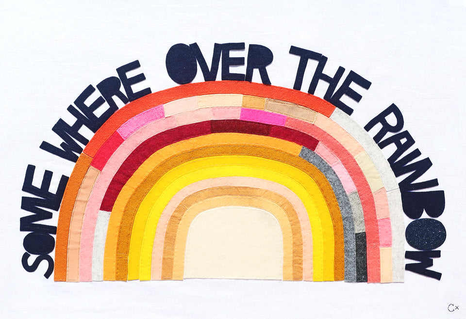 Somewhere Over the Rainbow Embroidery by Rachel Castle. 790mm w x 540mm h