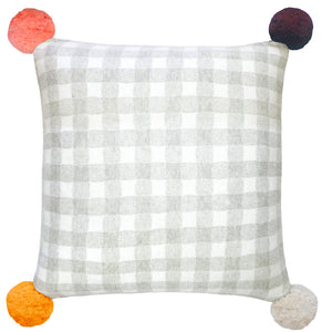 Gingham Pom Pom Cushion Cover by Castle