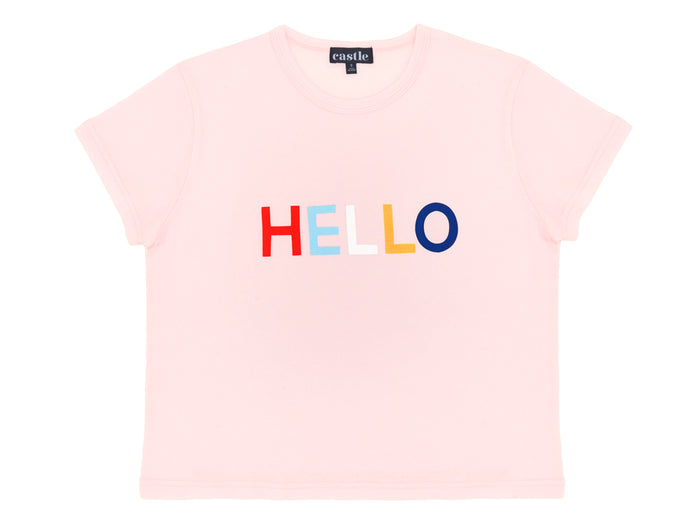 Hello Tshirt by Castle. 4 Coloured Letter Print on Pink Tshirt
