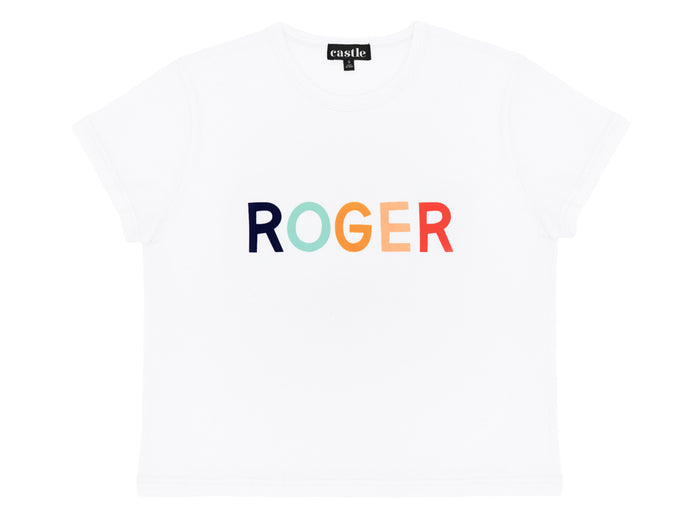 Roger Tshirt by Castle. 5 Coloured Letter Print on White Tshirt
