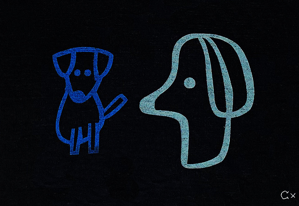 Two Puppies Print by Rachel Castle. 430mm w x 350mm h