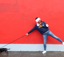 Girl Wearing Winter Gear and Woman Sweater by Castle. Dog Pulling Girl Away With Leash Against Red Brick Wall