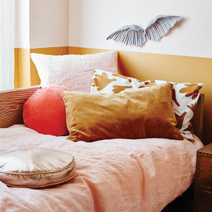 Blush Linen Quilt Cover by Castle. Butterscotch Velvet Pillowcase. Fern Pillowcase. Watermelon Velvet Penny Round Cover
