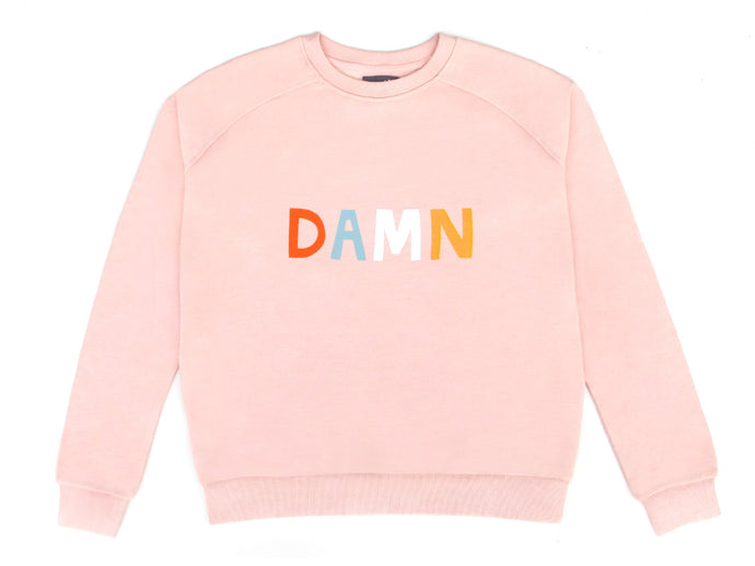 Damn Sweater by Castle. 4 Colour Letter Print on Pink Sweatshirt