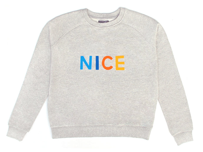 Nice Sweater by Castle. 4 Coloured Letters Printed on Grey Marle Sweatshirt