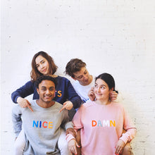 Group of Young People Wearing Nice, Damn, Lucky and Nuts Sweaters by Castle