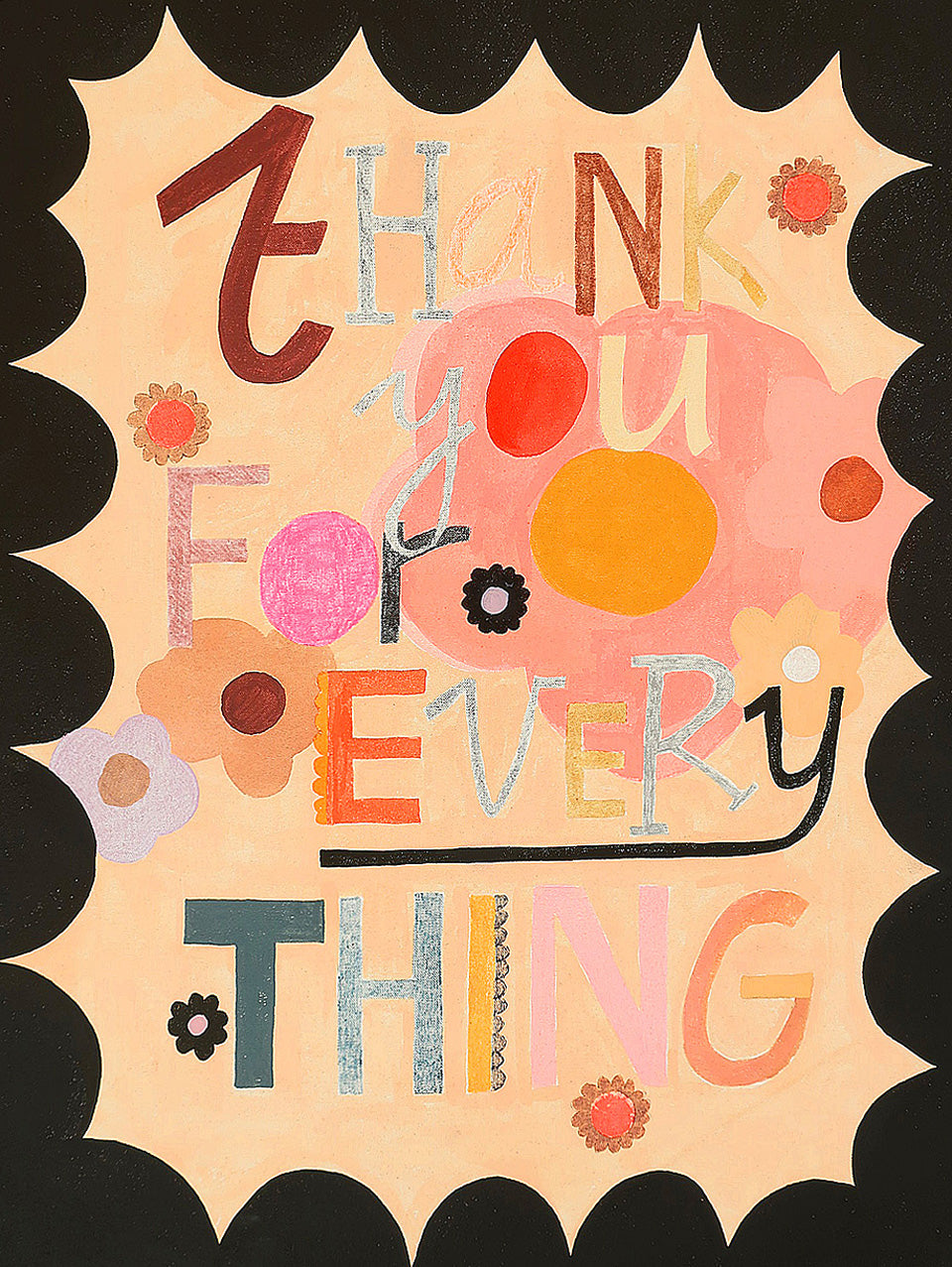 Thank You For Everything painting by Rachel Castle. 500mm w x 620mm h