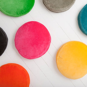 Green. Grey, Blue. Yellow. Pink. Watermelon. Charcoal. Velvet Penny Round Cushions by Castle