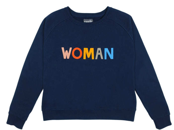 Woman Sweater by Castle. 5 Colour Letter Print on Navy Sweatshirt