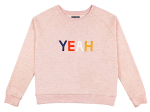 Yeah Sweater by Castle. 4 Colour Letters Printed on Pink Marle Sweatshirt