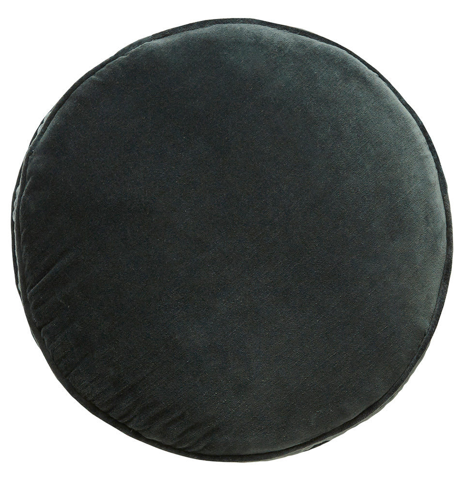 Charcoal Velvet Penny Round Cover by Castle