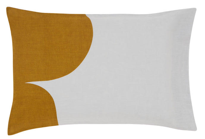 Grey Linen Rust Cloud Pillowcase by Castle. Butterscotch and Grey linen Pillowcase. 50 x 75cm