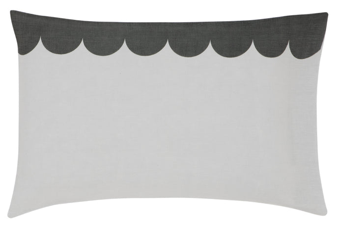 Grey Linen Scallop Pillowcase by Castle. Scallop Design in Dark Grey with Grey Linen Fabric. 50 x 75cm