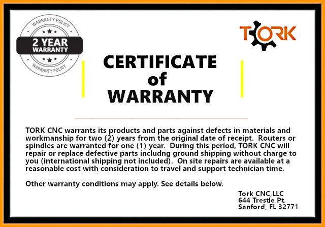 tork cnc warranty policy