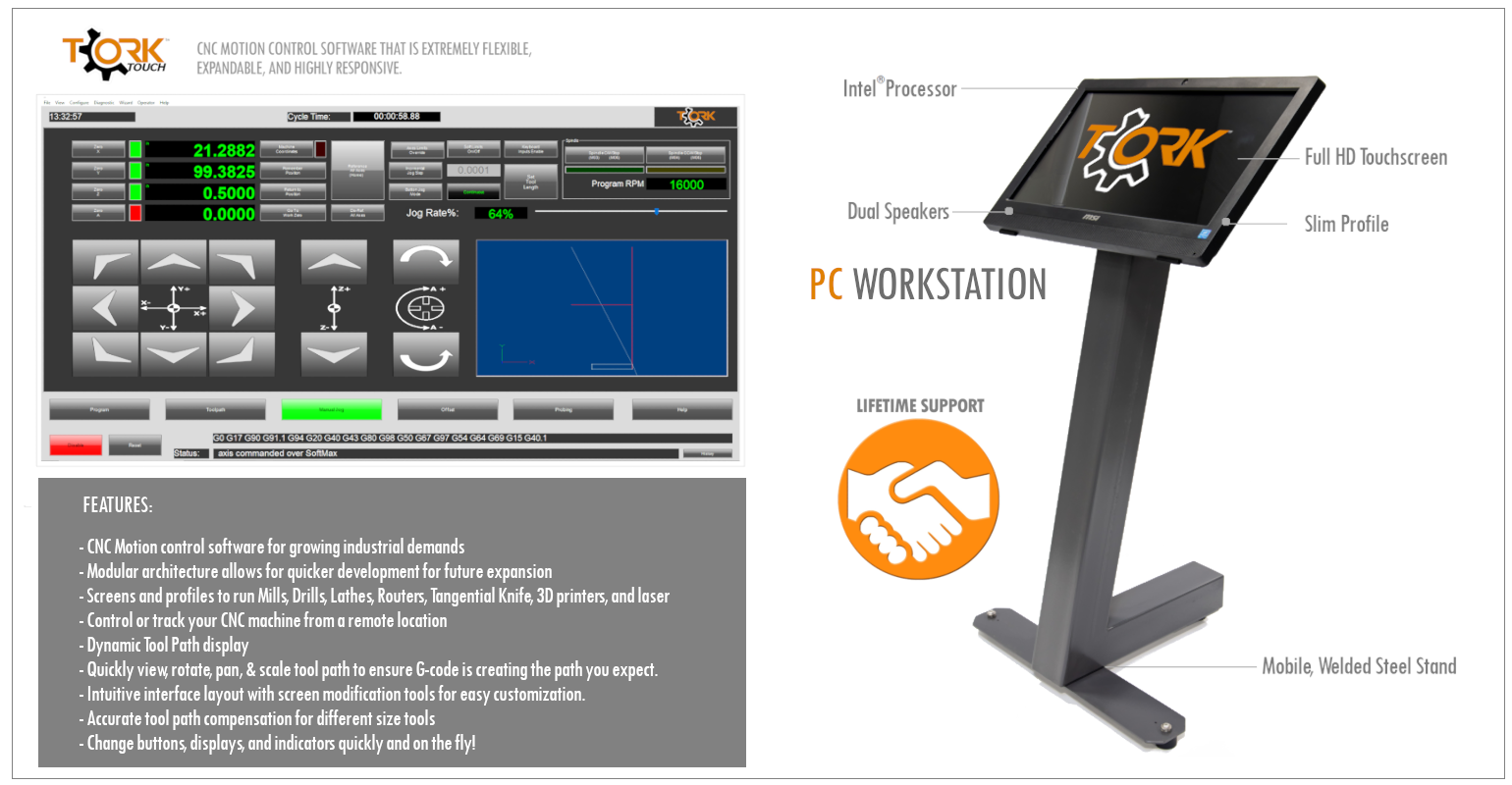 Tork Touch CNC control software interface