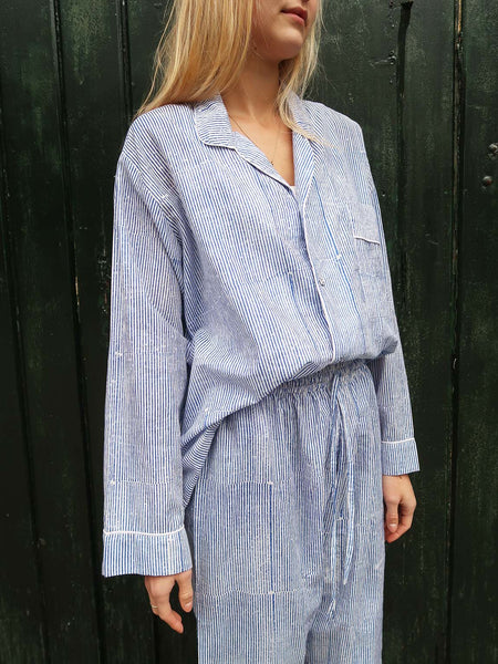 Pyjamas Blockprint Blue Stripe