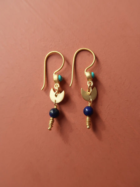 Dangling Moon Earring - Blue