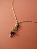 Dangling Moon Necklace - Blue