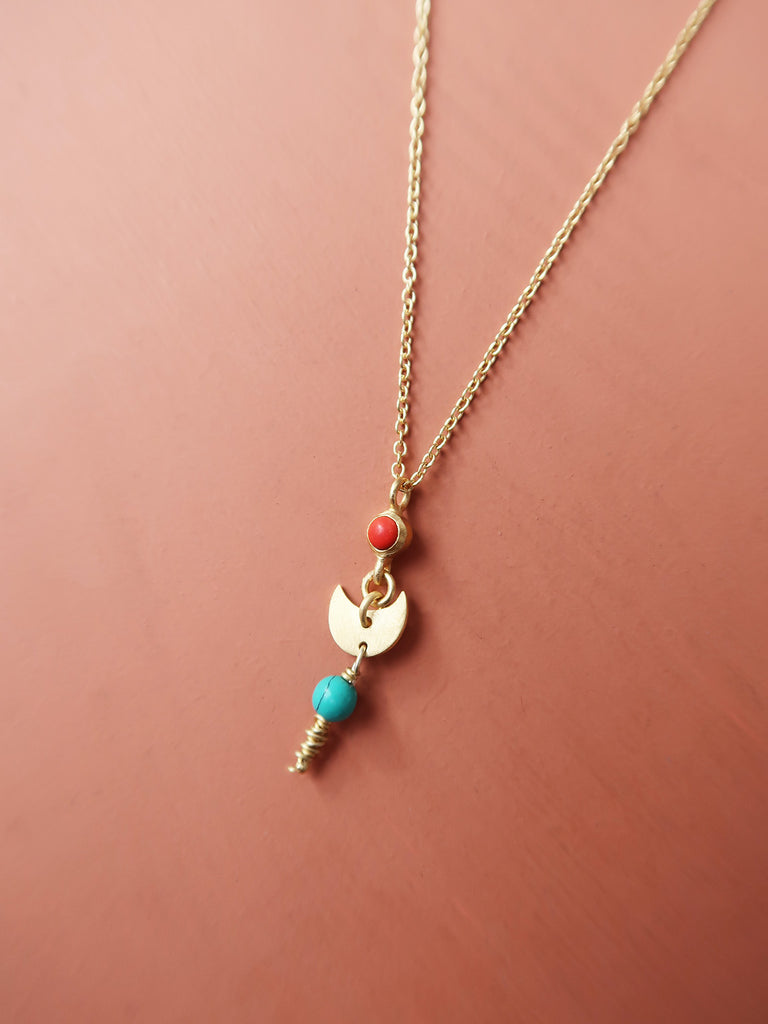 Dangling Moon Necklace - Red