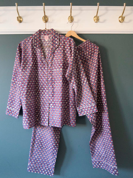 Pyjamas Blockprint Purple rose