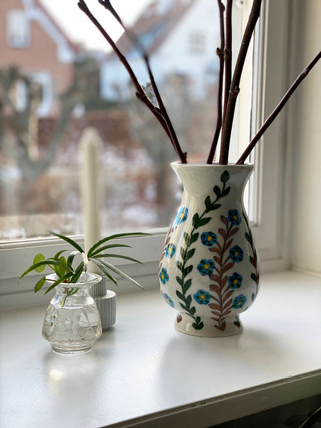 Blue Pottery Vase - Blue Flower