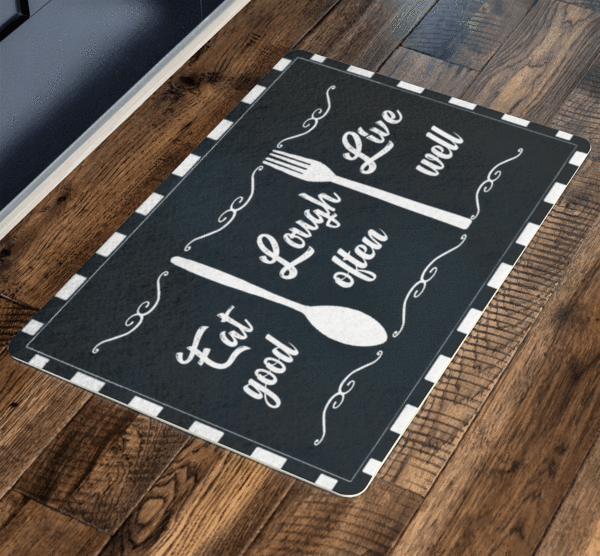 """ Eat Laugh and Live"" For Home and Workplace Special Doormats Exclusive ( Best price Deal) - LA Shirt Company"