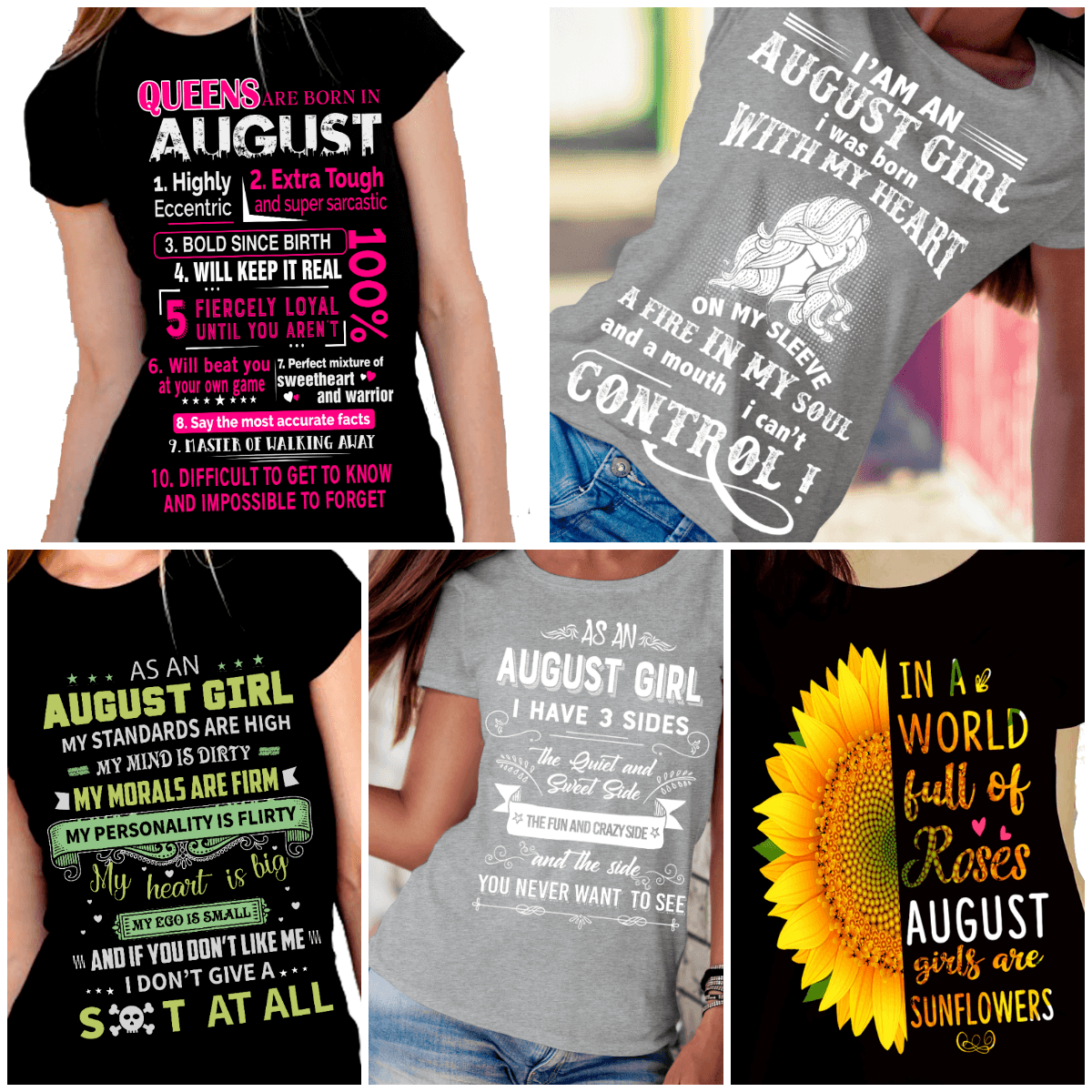 """Get Exclusive Discount On August Combo Pack Of 5 Shirts""(Flat Shipping) For B'day Girls. - LA Shirt Company"