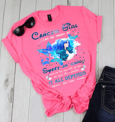 """CANCER GIRL"" I CAN BE MEAN AF SWEET AS CANDY.....( SHIRT 50% OFF ) FOR WOMAN'S FLAT SHIPPING. - LA Shirt Company"