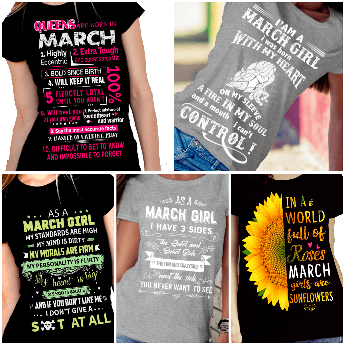 """Get Exclusive Discount On March Combo Pack Of 5 Shirts""(Flat Shipping) For B'day Girls. - LA Shirt Company"