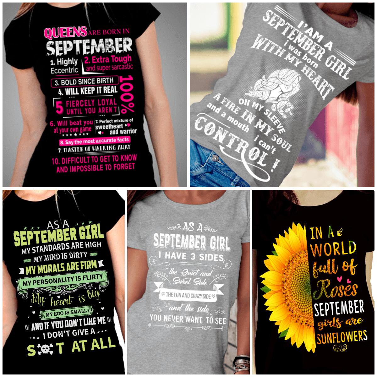 """Get Exclusive Discount On September Combo Pack Of 5 Shirts""(Flat Shipping) For B'day Girls. - LA Shirt Company"
